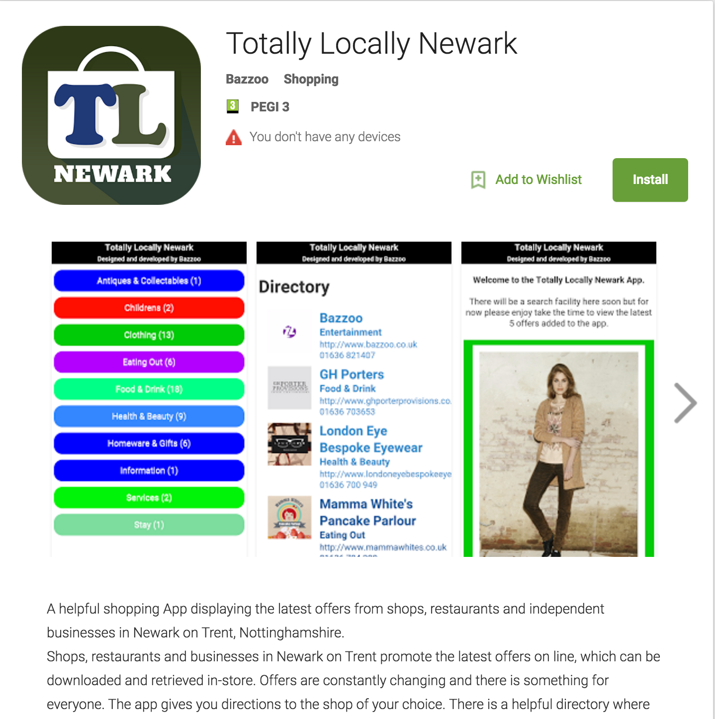 Retail App - Totally Locally Newark available from Google Play